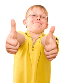 Smiling teenager show thumb up sign on two hands